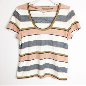 Madewell Striped Alto Scoop Tee Size Small